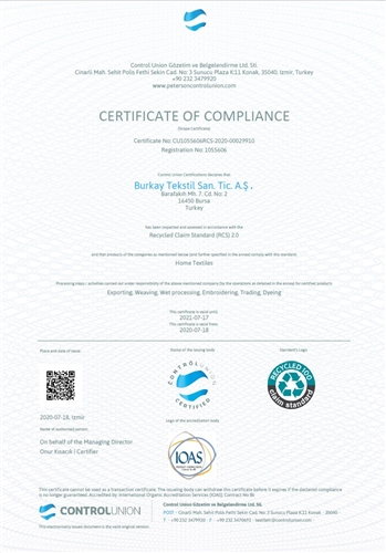 Burkay Textile Received the Recycled Claim Standard certificate.