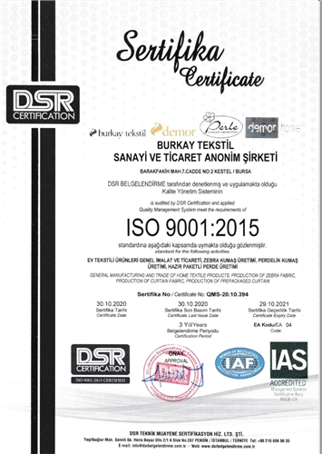 BURKAY TEXTILE RECEIVES ISO-9001 DOCUMENT